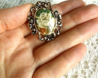 Gift for mom Victorian brooch Floral scarf clip brooch Rose clip Clip pin Round brooch Business lady accessory Gift for her