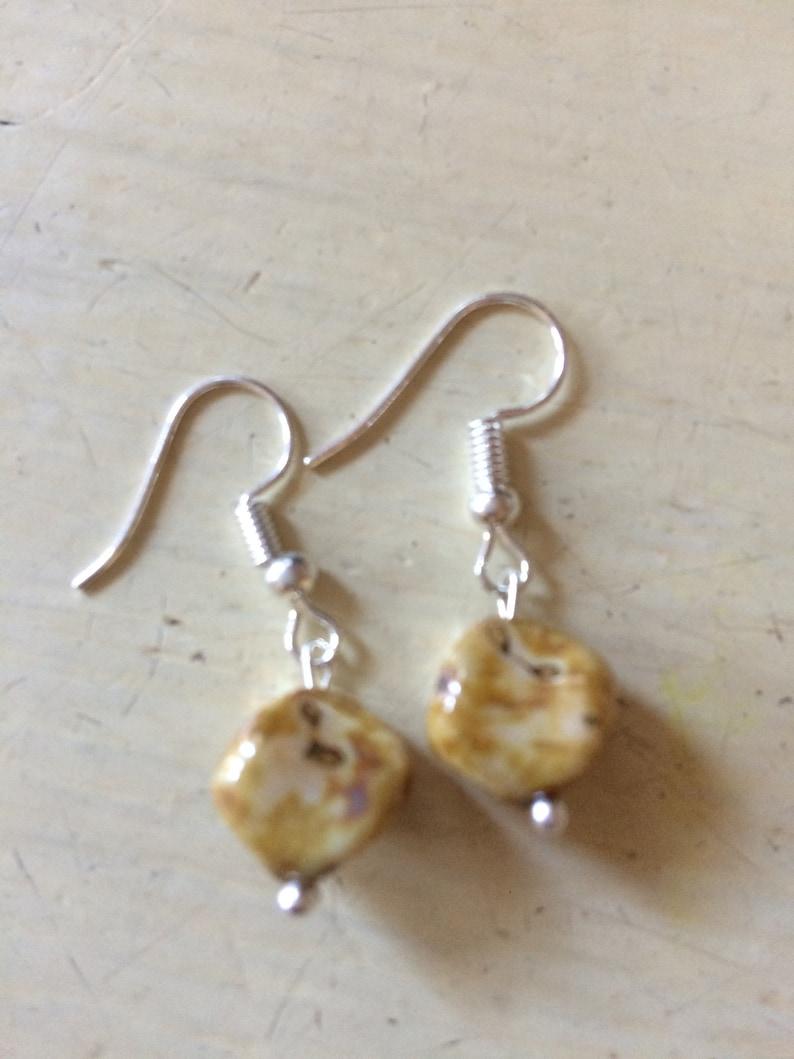 Earrings Glass Bead Brown marble