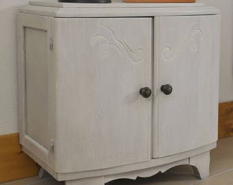 Old cabinet updated with white wax