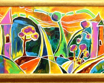 Original abstract painting of colorful explosion,landscape