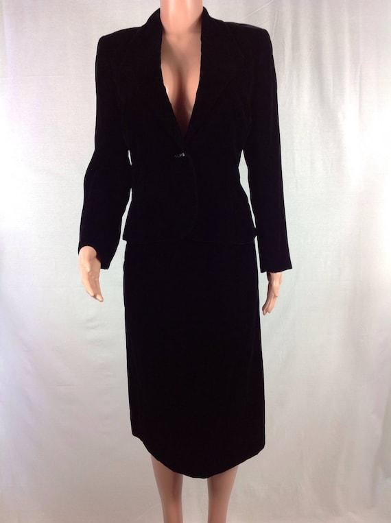 Vintage 1970's Mollie Parnis Velvet Skirt and Blaz