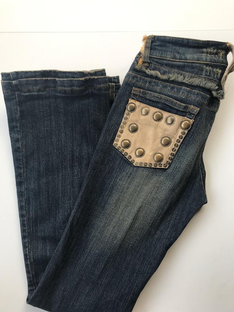 Dolce Cabo Fur Trim Studded Jeans M