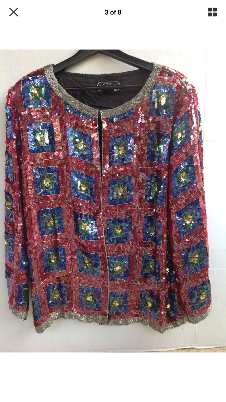 Jean Joseph Lebon Silk Sequins Art Decco Evening Jacket XL