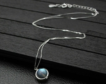 Beautiful 925 Sterling Silver Spinning Ball Labradorite Necklace 45cm Chain