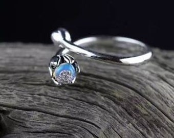 Rustic Ring Opal Jewelry Opal Copper Ring Wedding Ring Boho ring size 7.5US genuine opal Ethiopian Opal ring rainbow fire Opal Ring