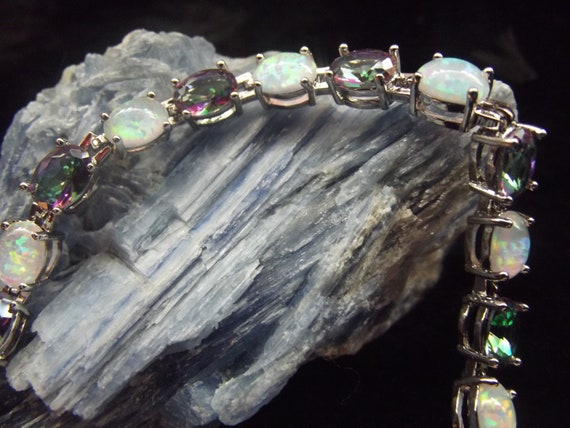 "Silver Fire Opal /& Mystic Rainbow Fire Stone Tennis Bracelet 7.5/""-8/"" Adjust"