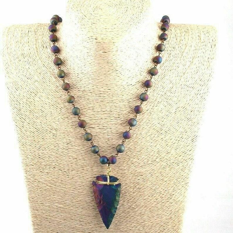 Natural Peacock Ore Purple Arrowhead Beaded Mala Necklace Lariat 8mm Beads