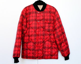 0cfb8919939cf Vintage 1950s Plaid Marshall Gamemaster Bomber Jacket / Flannel / Fleece /  Puffer / XL / Large / Outdoors / Hunting / Camping / Hiking / 60s