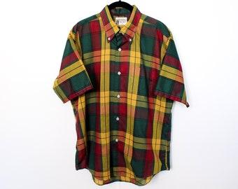 861cfcfafdbde Vintage 1970s Golden Award Plaid Shirt / Medium / Outdoors / Hunting /  Camping / Mustard / Hunter / Flannel / Tartan / Buffalo / Tapered /