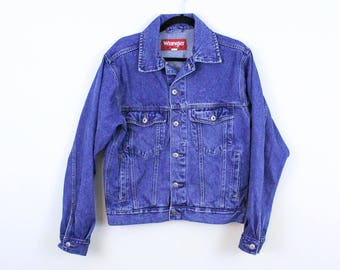 90s Denim Wrangler Jacket / Men's Size Small / Classic / Hero / Grunge / Cool Guy / Jean Jacket / Cotton / Medium Wash / y2k / XcNkd