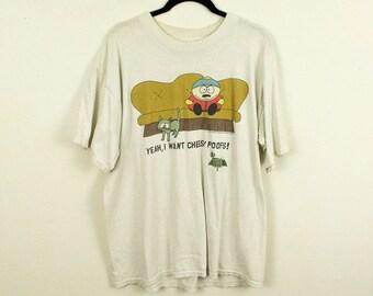 Vintage 1990s South Park Novelty T Shirt / Cheesy Poofs / Large / 100% Cotton / Cartoon / Animation / Farm / y2k / Cartman / Gildan / White