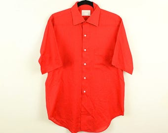 """1970s Arrow Surrey Collection Men's Collared Shirt / Basic / Disco / 15.5"""" Neck / M / Button Down / Polyester / Cotton / Bowling / Red /"""