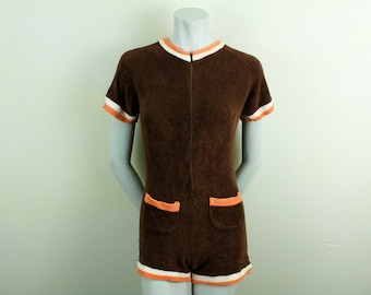 b2d56c6a7327 Vintage 1960s Brown and Orange Zip Front Romper   Jumper   Onesie   Medium    Large   Mod   Terrycloth   Pocket   Retro   Psychedelic   Short