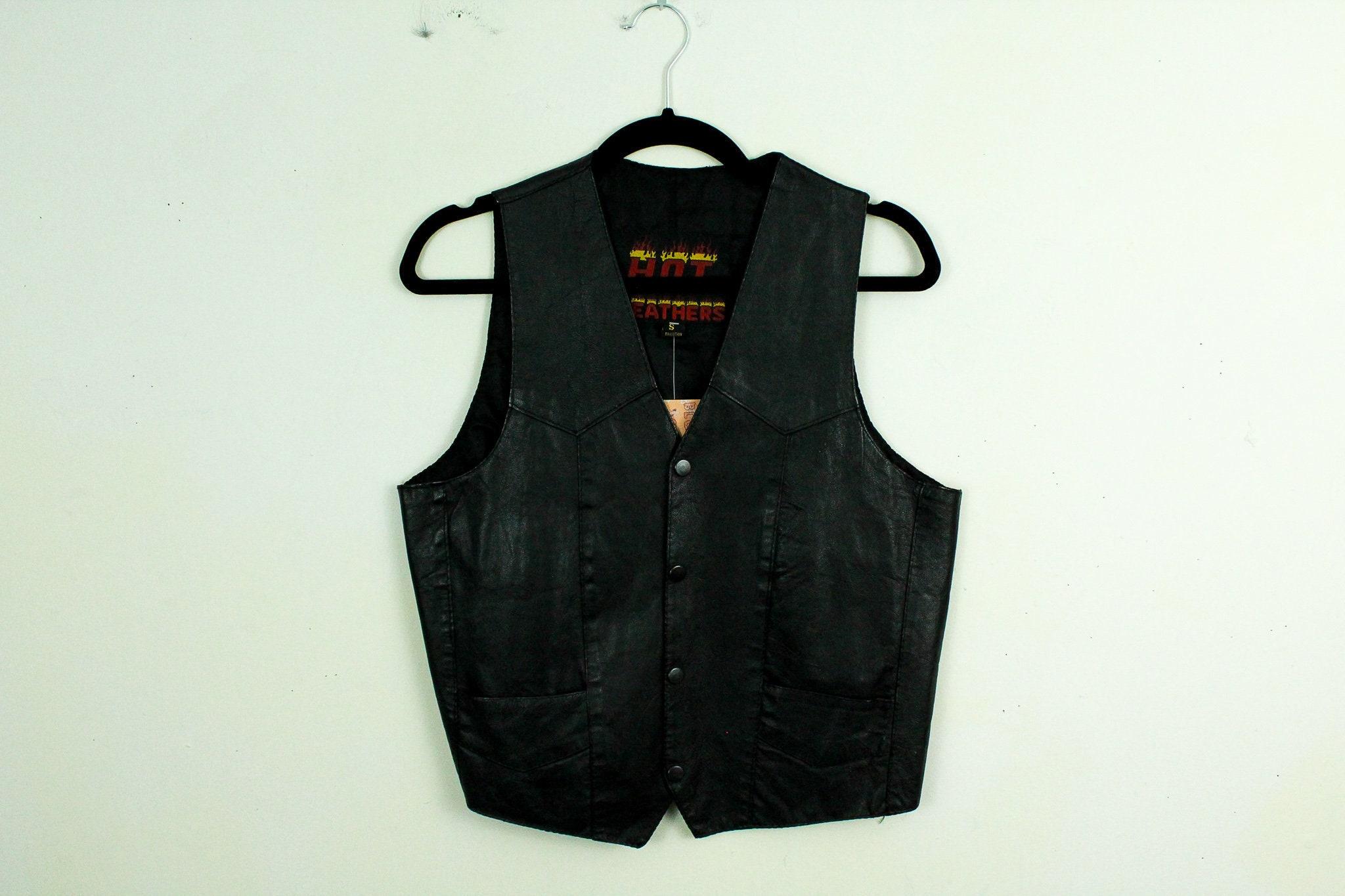 99bcd8ab Vintage 1980s Black Hot Leathers Leather Biker Vest / Pockets | Etsy