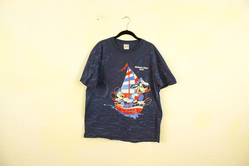 9e3ec16b Vintage 1980s Mickey Mouse & Goofy Sailing T Shirt / Cartoon / | Etsy