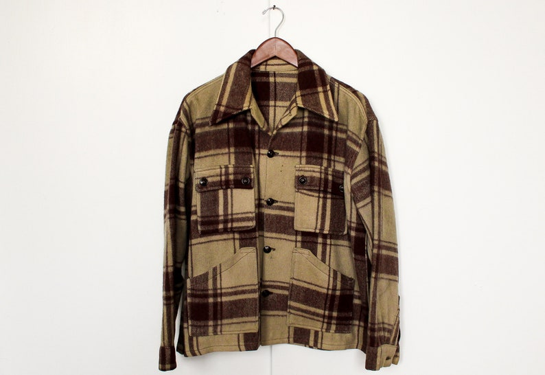 d9f256a055125 Vintage 1940s Plaid Hunting Jacket / Town And Country /   Etsy