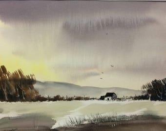 Original Watercolor Landscape Painting - Winters Fall