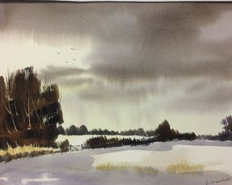 Original Watercolor Landscape Painting - Snow Day
