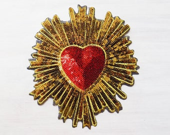 Sacred Heart, Heart patch, Iron On Patch, Dolce, Corona heart, Catholic Patch, couture patch, Sequin patch, Large Iron on, flaming corazon