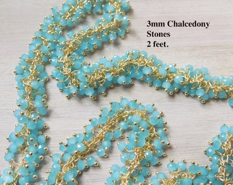 Cluster chain, 2 feet, VERY lovely, 3mm beads, chalcedony blue, chalcedony aqua, high quality, very delicate, ornate chain, 2 ft lot