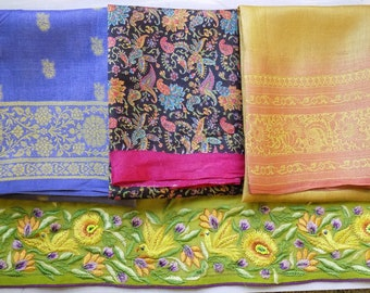 Fat quaters, sari silk, coordinated lot, fabric plus vintage trim, embroidered saree trim, matching fabrics, small project, one of a kind
