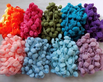 Pom Pom Lot, 27 YARDS, 9 colors, 3 yards each, bright colors, pastels, boho decor, boho trim, day of the dead, instant collection