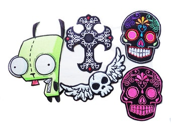 Embroidered patch, Patch lot, large iron on patch, sugar skull patch, Invader Zim, skull patch, gothic patch, large lot, destash lot, patch