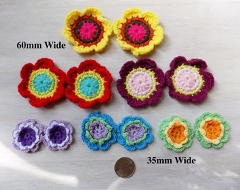 Crochet flower, assorted pairs, embellishment, sewing, headbands, hippie applique, socks, leg warmers, baby clothing, boho style, quilting