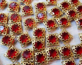 Filigree wrapped jewel, jewel connectors, filigree connectors, red stone, cage wrapped jewels, unique connectors, raw brass, 12mm square, 50