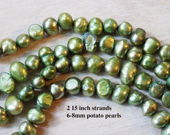Potato pearls, 7-8mm, green, TWO strands, 15 inches each, stunning color, boho pearls, one lot, high quality pearl