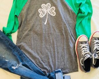 St. Patrick's Day Shamrock Shirt/Irish/Baseball T-Shirt/Shamrock/Clover/LuckyRinger Tee/Men/Women