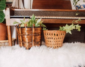 Set of vintage wicker and rattan planters