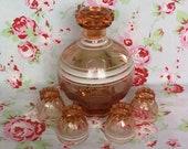 Vintage French Pink Depression Glass Carafe w. 4 Shot Glasses Rosaline Made In France 1960s Clear Salmon Decanter Liqueur Bottle Liquor Jug