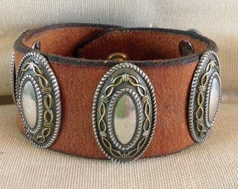 Western Barbwire Concho Cowboy Cowgirl Leather Cuff Bracelet
