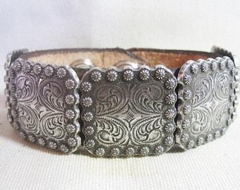 Square Silver Berry Concho Leather Cuff Bracelet