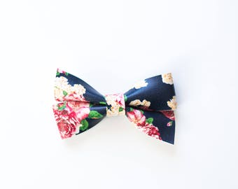 Navy Floral Double-Loop Bow