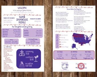 Infographic Wedding Program-Map, Hashtag, Honeymoon, Lyrics, Love Story