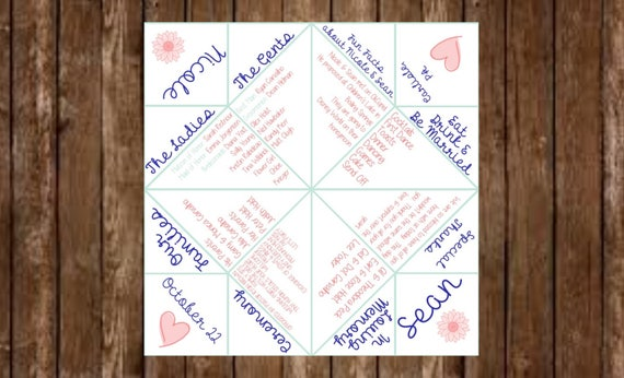 Infographic Wedding Program Cootie Catcher In Memory Reception Timeline Fun Facts