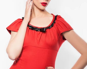 Red Jersey dress and black ribbon