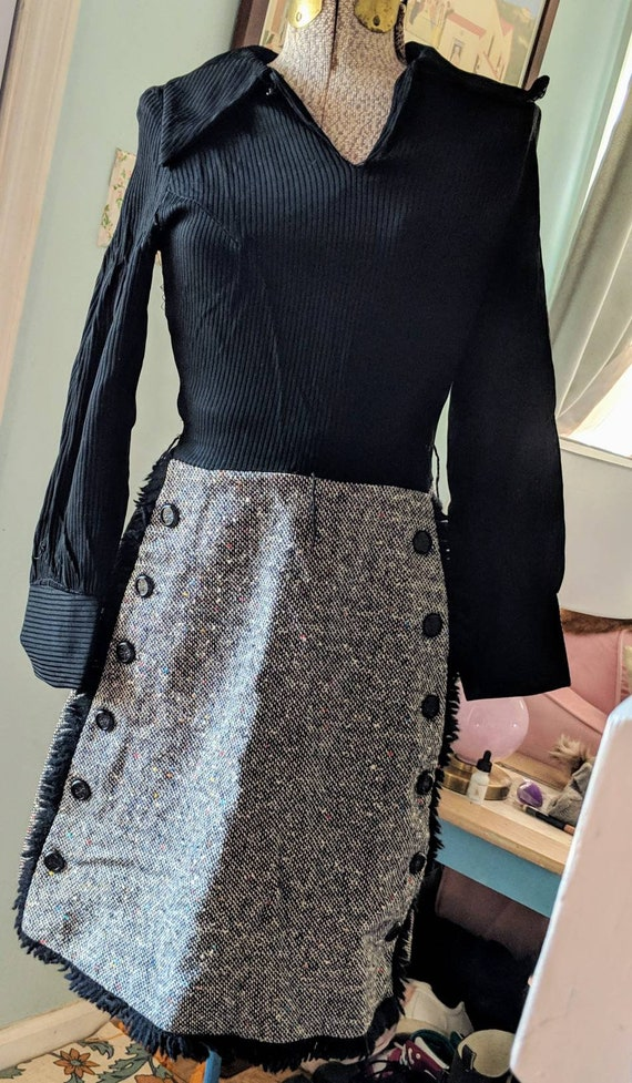 1970s Vintage Black and White Dress