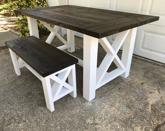 Awe Inspiring Farmhouse Table Bench Rustic Farm Table Wood Farm Table Etsy Pabps2019 Chair Design Images Pabps2019Com