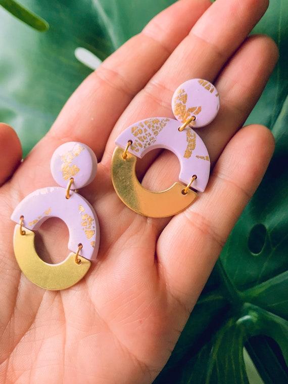 Golden polymer clay stud earrings