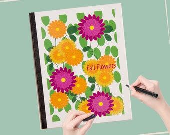 Carnet les amoureux de la nature, carnet de fleurs, Journal amoureux de la Nature, cahier de 50 pages, lumineux de couleur carnet, cahier scolaire, rentrée des classes