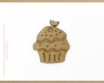 muffin cutout Wooden cupcakes for crafts unpainted wood cupcake Laser cut unfinished shapes