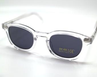 e217eed096 Johnny Depp Tart Arnel Sunglasses - 44mm and 47mm - Crystal with Grey Lens  - UV400
