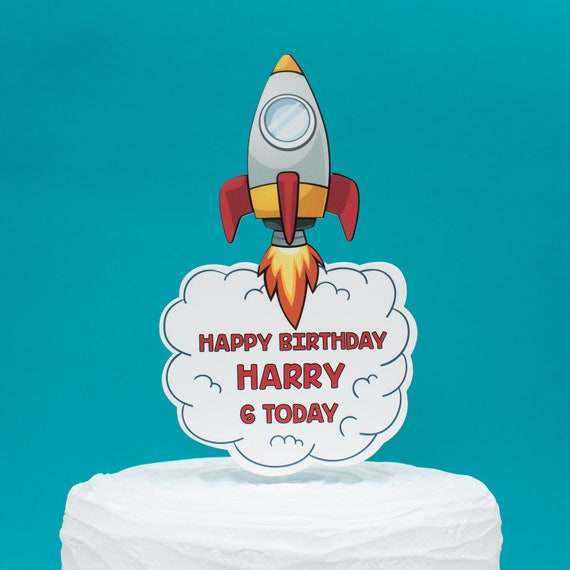 Swell Childrens Space Rocket Birthday Cake Topper Unique Kids Etsy Funny Birthday Cards Online Alyptdamsfinfo
