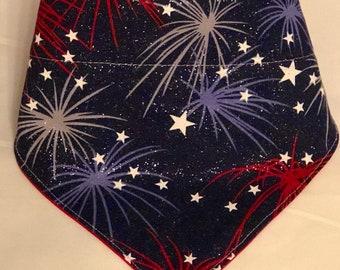 4th Of July Bandana / FireWorks Bandana / Red, White and Blue/ Patriotic / America