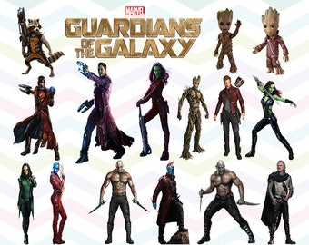 Guardians of the Galaxy Vol. 2 Clipart PNG Files, Printable Clipart, Transparent Background PNG, Digital Files for Kids - CUTE-039