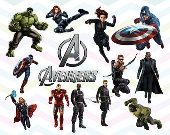 Avengers Clipart, Avengers PNG, Marvel Superheroes Files, Printable Clipart, Transparent Background PNG, Digital Files for Kids - CUTE-001