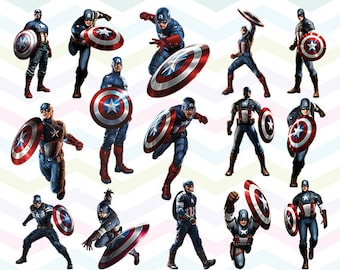 Captain America Clipart, Captain America PNG Files, Printable Clipart, Transparent Background PNG, Digital Files for Kids - CUTE-034